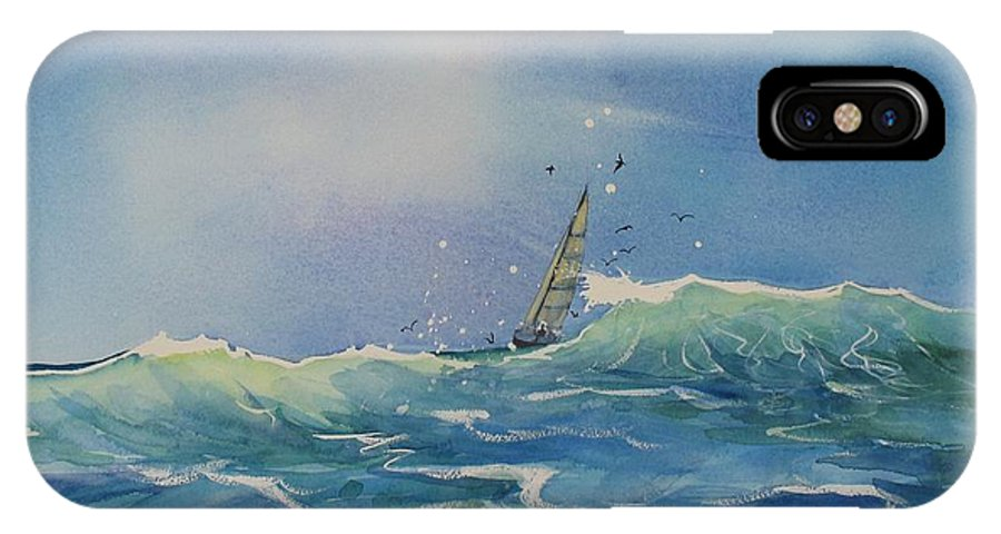 Watercolor Painting IPhone X Case featuring the painting Open Waters by Laura Lee Zanghetti