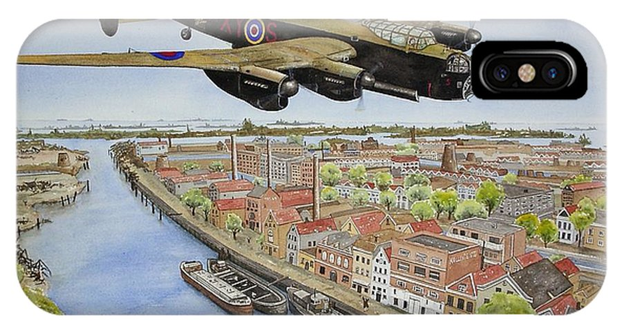 Lancaster Bomber IPhone X Case featuring the painting Operation Manna II by Gale Cochran-Smith