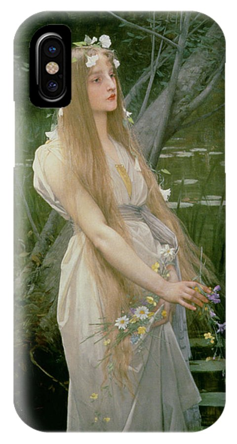 Female; Standing; Flowers; Gathering; Hair; Hamlet; Drowning; Suicide IPhone X Case featuring the painting Ophelia by Jules Joseph Lefebvre