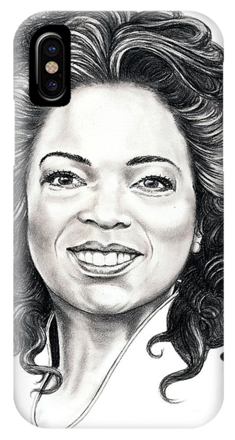 Oprah IPhone X Case featuring the drawing Oprah Winfrey by Murphy Elliott