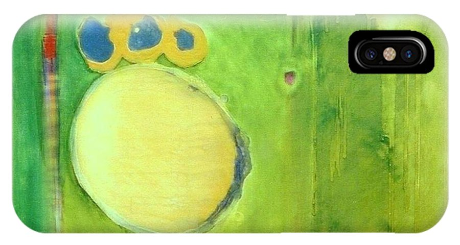 Abstract IPhone X Case featuring the painting Optic Nerve by Marlene Burns