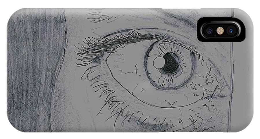 IPhone X Case featuring the drawing Optimistic Eye by Rakesh Kumar Natarajan