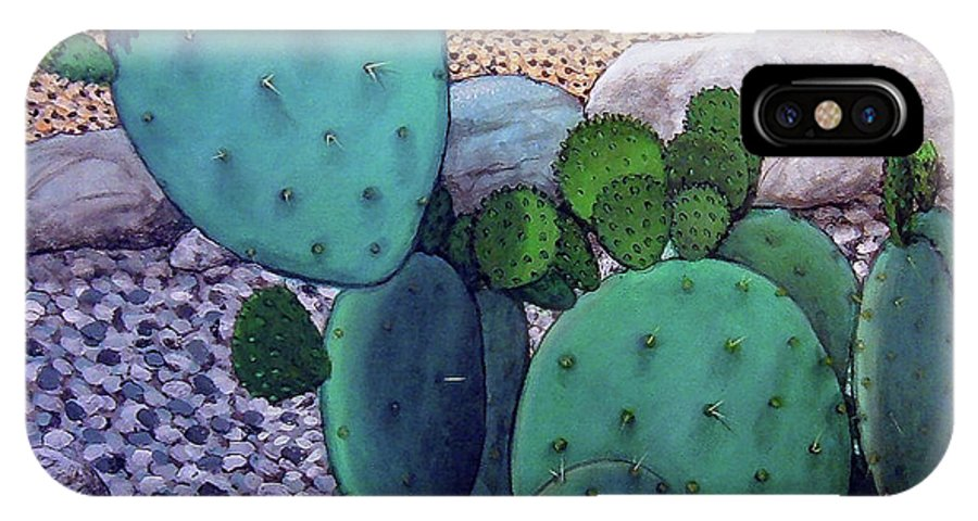 Landscape IPhone X / XS Case featuring the painting Opuntia by Snake Jagger