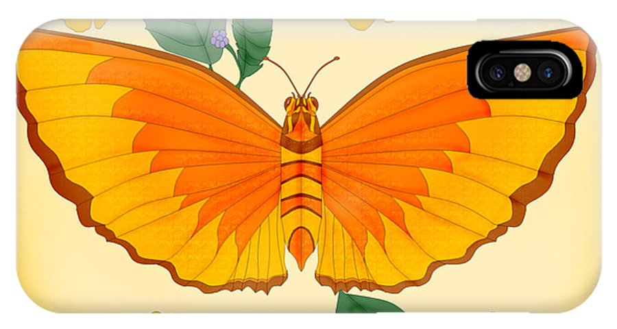 Butterfly IPhone X Case featuring the painting Orange Beauty by Anne Norskog