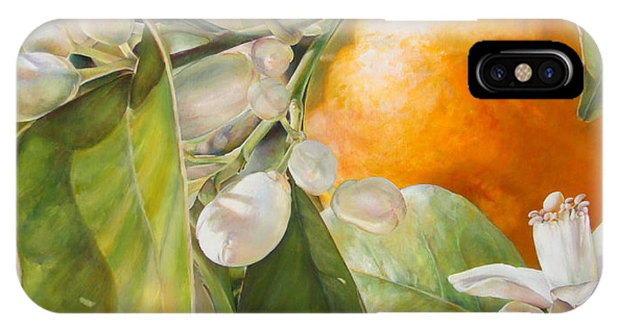 Floral Painting IPhone X Case featuring the painting Orange Fleurie by Dolemieux