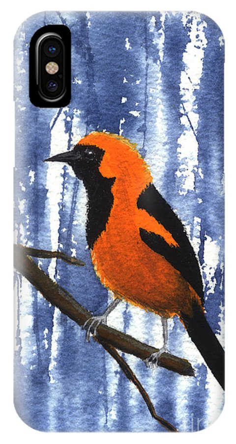 Bird IPhone X Case featuring the painting Orange-headed Oriole by Lynn Quinn