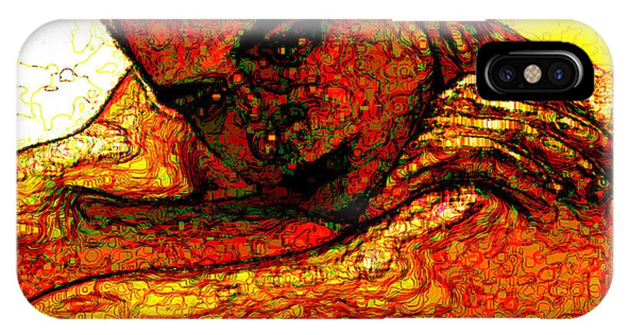 Man IPhone X Case featuring the digital art Orange Man by Stephen Lucas