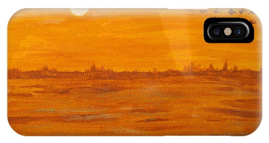 Orange IPhone X Case featuring the painting Orange Ocean by Ian MacDonald