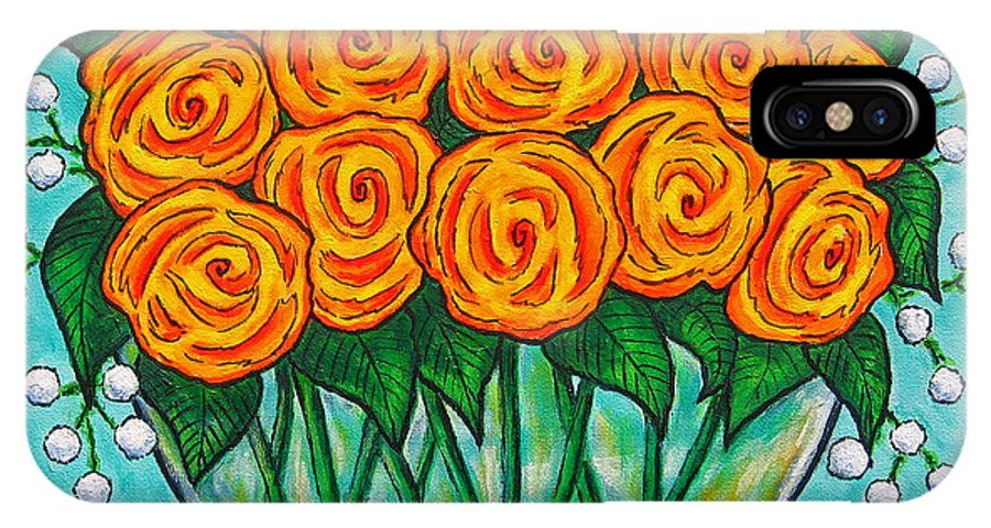 Orange IPhone Case featuring the painting Orange Passion by Lisa Lorenz
