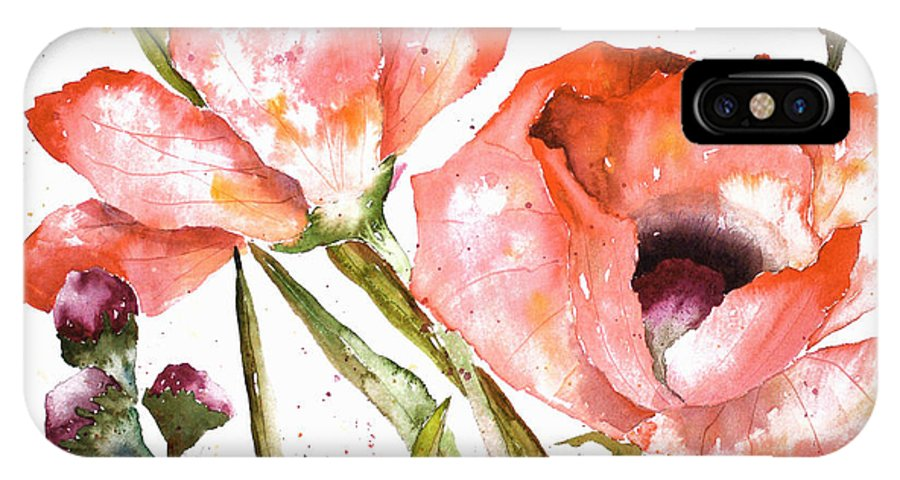 Poppy IPhone Case featuring the painting Orange Poppies by Arline Wagner