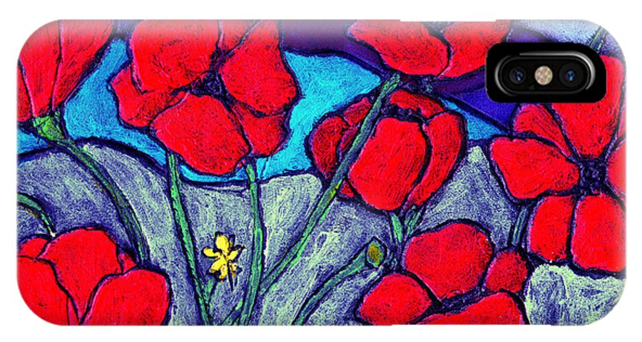 Flowers IPhone X Case featuring the painting Orange Red Poppies by Wayne Potrafka