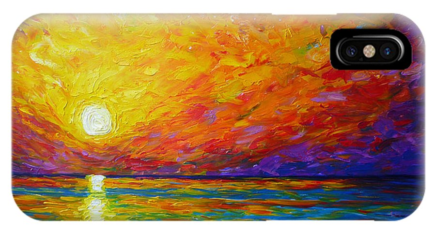 Landscape IPhone X Case featuring the painting Orange Sunset by Ericka Herazo