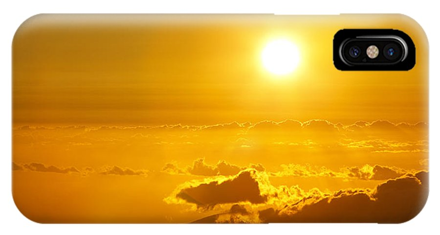 Altitude IPhone X Case featuring the photograph Orange Sunset - Haleakala by MakenaStockMedia - Printscapes