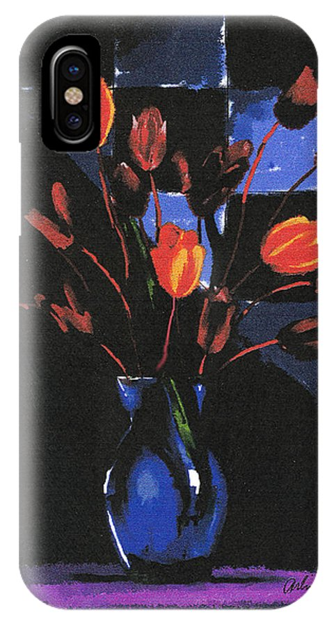 Tulip IPhone Case featuring the digital art Orange Tulips by Arline Wagner