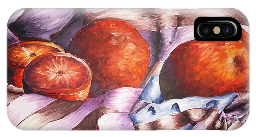 Oranges IPhone X Case featuring the painting Oranges In A Blanket by Ashley Warbritton