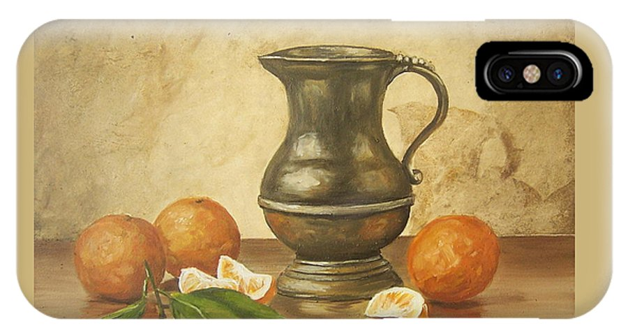 Still Life IPhone X Case featuring the painting Oranges by Natalia Tejera