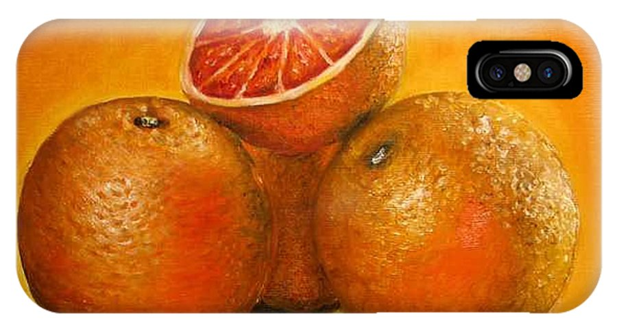 Oranges IPhone X Case featuring the painting Oranges Original Oil Painting by Natalja Picugina