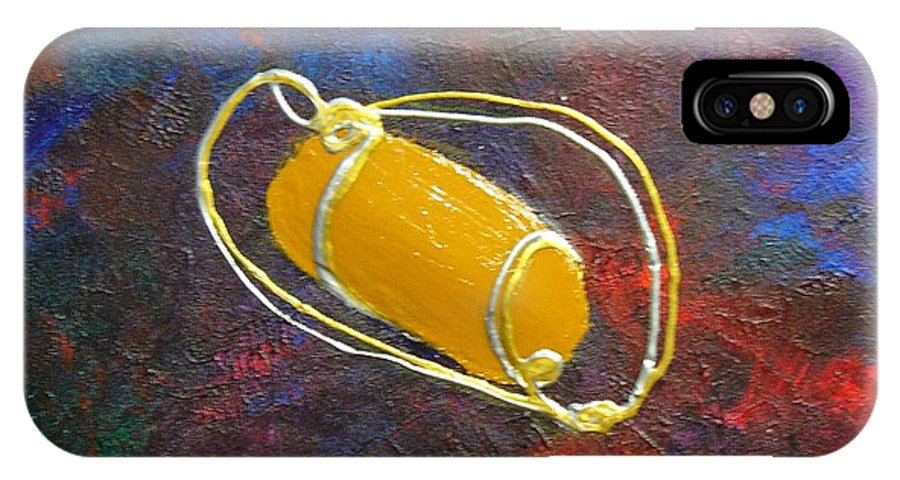 Abstract IPhone Case featuring the mixed media Orbit by Peggy King