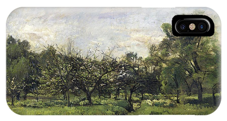 Barbizon School IPhone X Case featuring the painting Orchard by Charles-Francois Daubigny
