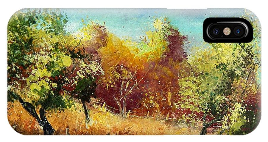 Flowers IPhone X / XS Case featuring the painting Orchard by Pol Ledent