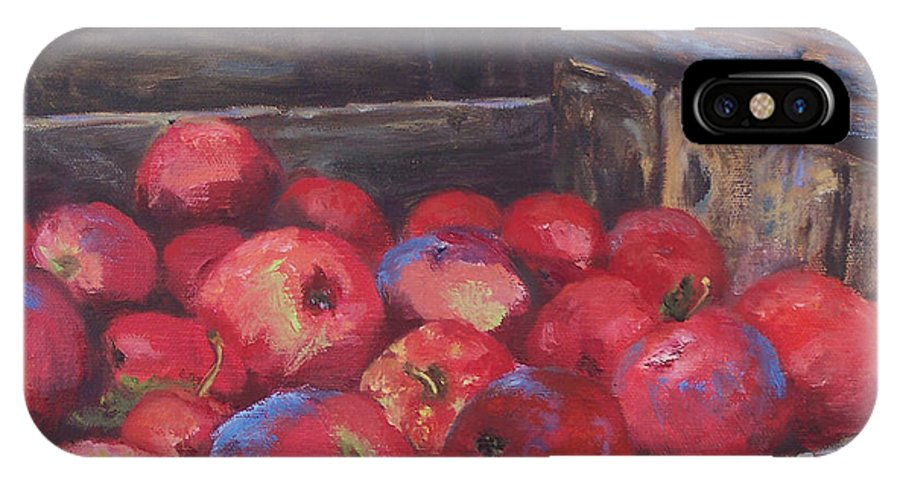 Apples IPhone X Case featuring the painting Orchard's Harvest by Alicia Drakiotes