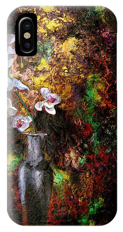 Orchid Art Beautiful Art IPhone X Case featuring the painting Orchid 1 by Laura Pierre-Louis