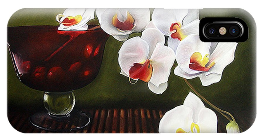 Floral IPhone X Case featuring the painting Orchid Cascade by Colleen Brown