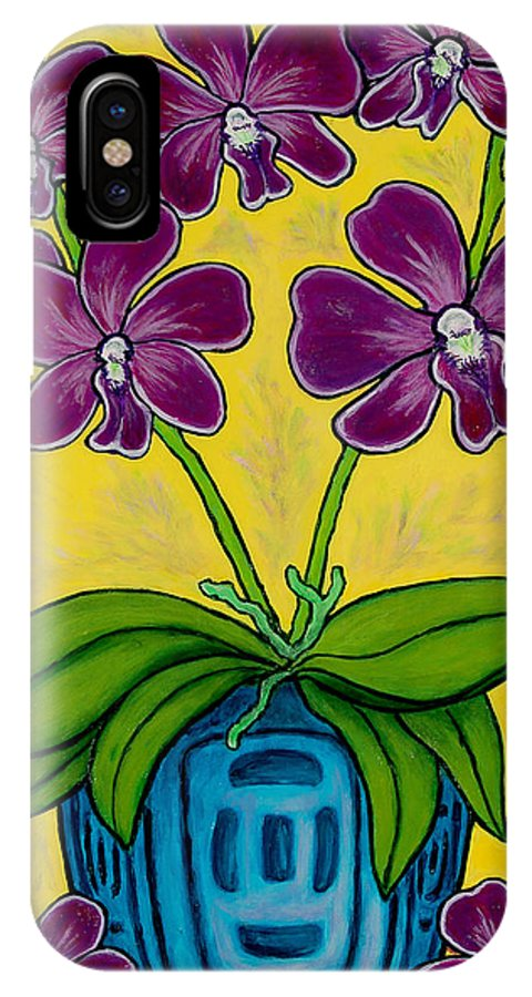 Orchids IPhone X Case featuring the painting Orchid Delight by Lisa Lorenz