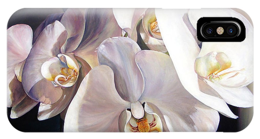 Floral Painting IPhone X Case featuring the painting Orchidee by Muriel Dolemieux