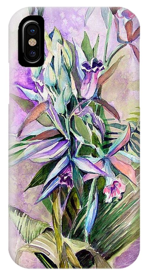 Orchids IPhone X Case featuring the painting Orchids- Botanicals by Mindy Newman