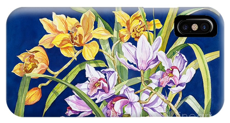 Orchids IPhone X Case featuring the painting Orchids In Blue by Lucy Arnold