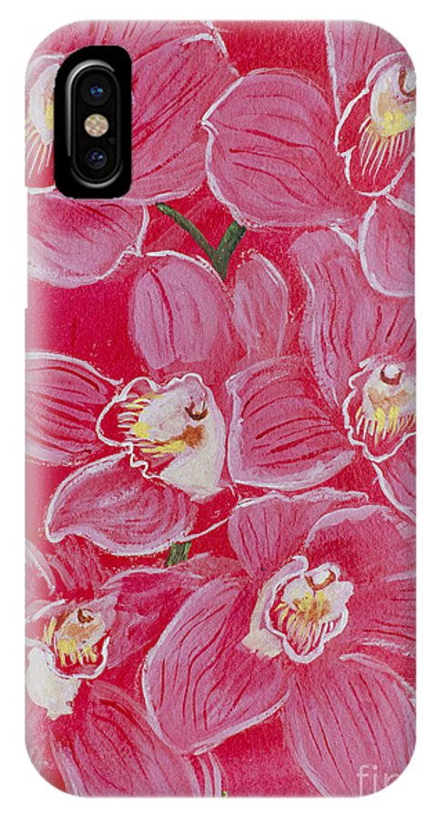 Orchids Pink Flower Flowers Nature Natural Floral Abstract Samanvitha Rao Acrylic Painting IPhone X Case featuring the painting Orchids by Samanvitha Rao