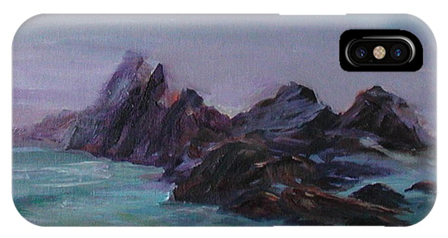 Impressionism IPhone X Case featuring the painting Oregon Coast Seal Rock Mist by Quin Sweetman