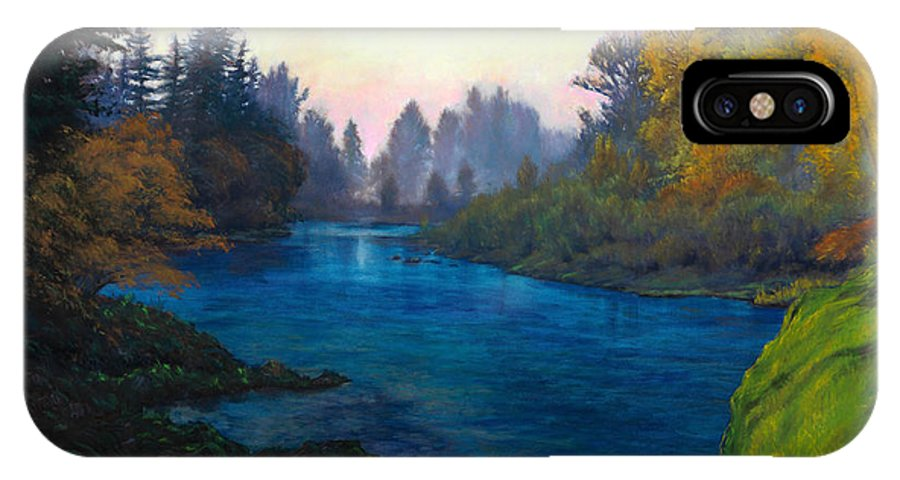 Lake IPhone X Case featuring the painting Oregon Santiam Landscape by Michael Orwick