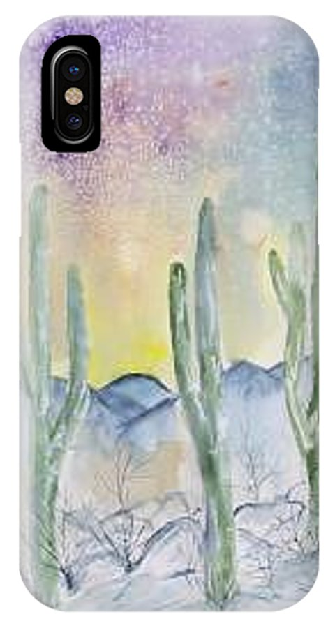 Impressionistic IPhone X Case featuring the painting Organ Pipe Cactus desert southwestern painting poster print by Derek Mccrea