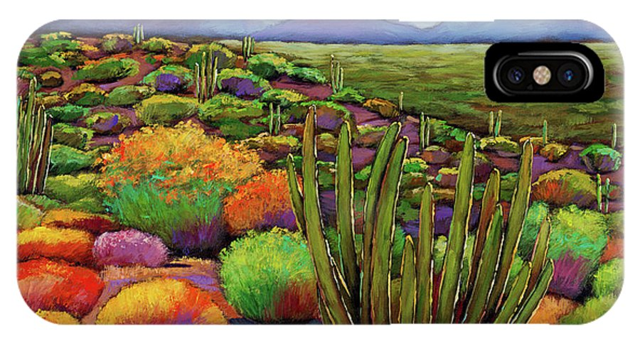 Desert Landscape IPhone X Case featuring the painting Organ Pipe by Johnathan Harris