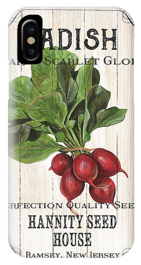 Radishes IPhone X Case featuring the painting Organic Seed Packet 3 by Debbie DeWitt
