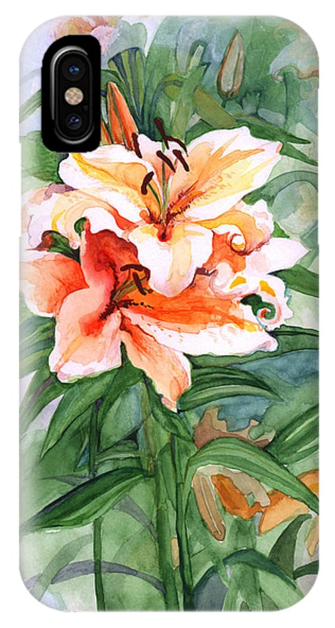 Lily IPhone X Case featuring the painting Oriental Lilies by Nancy Watson
