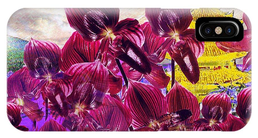Far East IPhone Case featuring the digital art Oriental Orchid Garden by Seth Weaver