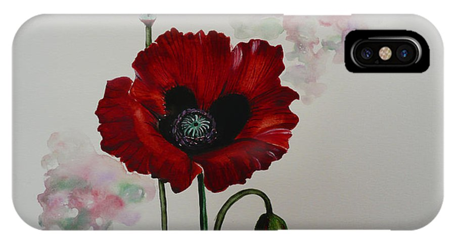 Floral Poppy Red Flower IPhone X / XS Case featuring the painting Oriental Poppy by Karin Dawn Kelshall- Best