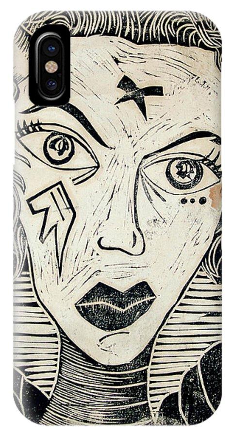 Block Print IPhone X Case featuring the print Original Devil Block Print by Thomas Valentine