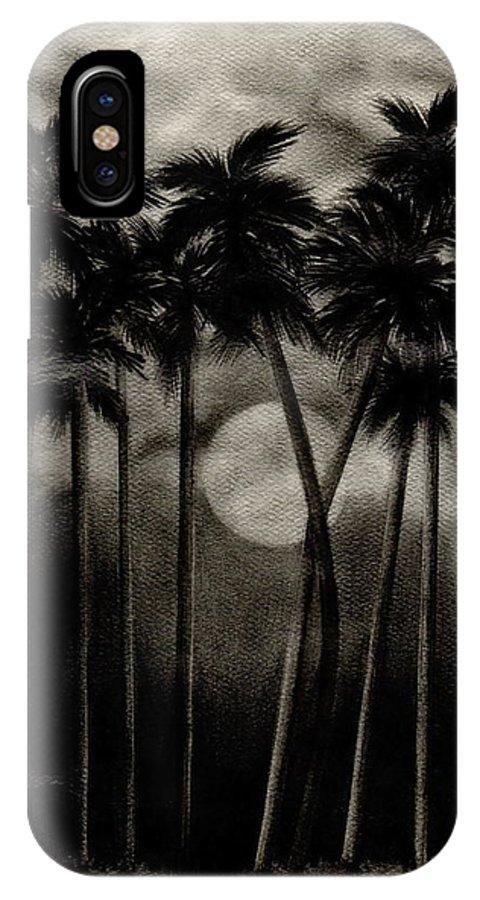 Original Moonlit Palm Trees IPhone Case featuring the drawing Original Moonlit Palm Trees by Larry Lehman