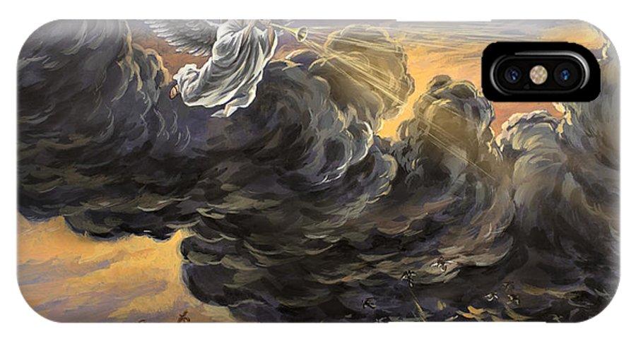 Fifth Trumpet Angel IPhone X Case featuring the painting Fifth Trumpet Angel by The Decree to Restore Jerusalem