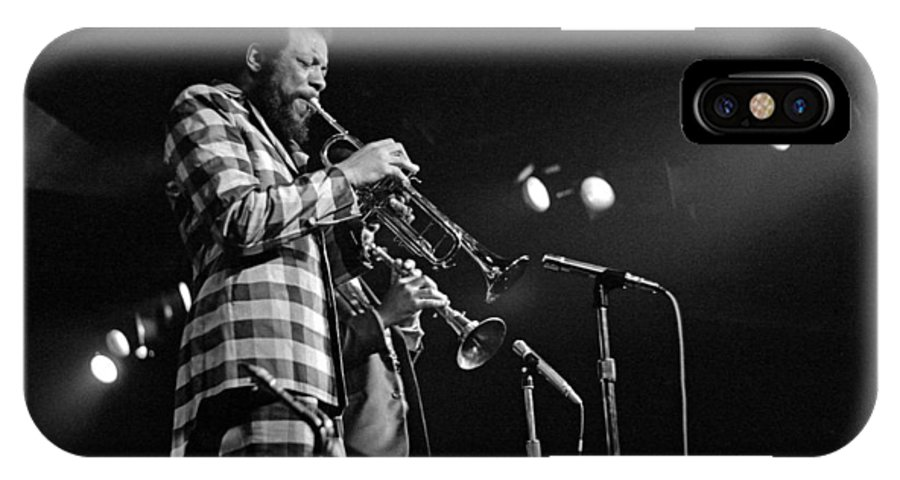 Ornette Colman IPhone X Case featuring the photograph Ornette Coleman On Trumpet by Lee Santa