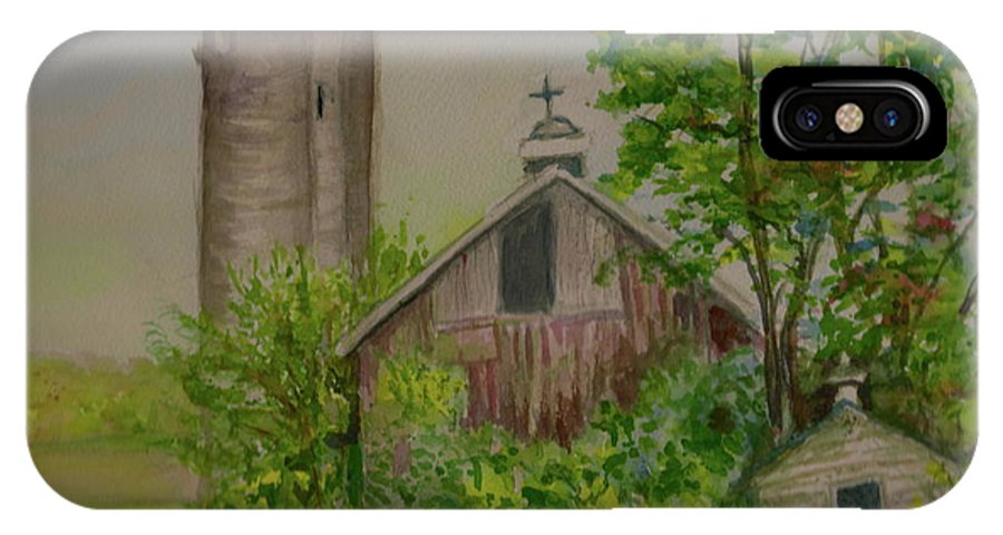 Landscape IPhone X / XS Case featuring the painting Orth Rd Barn by Judith Maculan