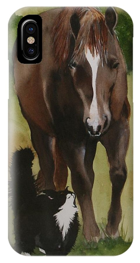 Horse IPhone X Case featuring the painting Oscar and Friend by Jean Blackmer