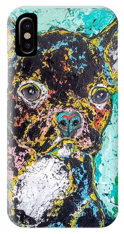 Dog IPhone X / XS Case featuring the painting Oscar by Mary Papageorgiou
