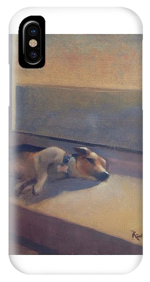 Dog IPhone X / XS Case featuring the painting Oscar by Richard W Diego