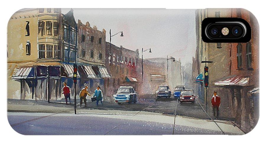 Street Scene IPhone X Case featuring the painting Oshkosh - Main Street by Ryan Radke