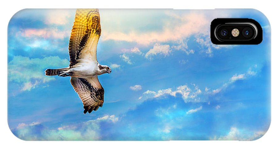 Osprey IPhone X Case featuring the photograph Osprey Soaring High Against A Beautiful Sky by Patrick Wolf